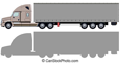 Beige truck - Truck with trailer and truck silhouette