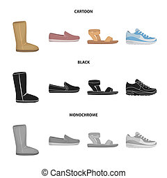 Beige ugg boots with fur, brown loafers with a white sole, sandals with a fastener, white and blue sneakers. Shoes set collection icons in cartoon, black, monochrome style bitmap symbol stock illustration web.
