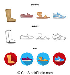 Beige ugg boots with fur, brown loafers with a white sole, sandals with a fastener, white and blue sneakers. Shoes set collection icons in cartoon, outline, flat style bitmap symbol stock illustration web.