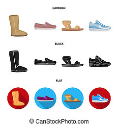 Beige ugg boots with fur, brown loafers with a white sole, sandals with a fastener, white and blue sneakers. Shoes set collection icons in cartoon, black, flat style bitmap symbol stock illustration web.
