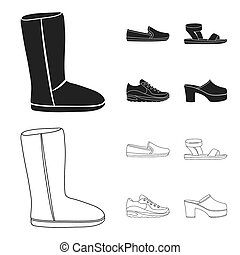 Beige ugg boots with fur, brown loafers with a white sole, sandals with a fastener, white and blue sneakers. Shoes set collection icons in black, outline style bitmap symbol stock illustration web.