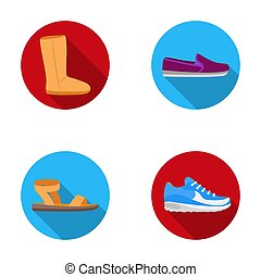 Beige ugg boots with fur, brown loafers with a white sole, sandals with a fastener, white and blue sneakers. Shoes set collection icons in flat style raster, bitmap symbol stock illustration web.