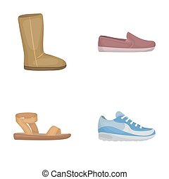 Beige ugg boots with fur, brown loafers with a white sole, sandals with a fastener, white and blue sneakers. Shoes set collection icons in cartoon style raster, bitmap symbol stock illustration web.
