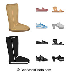 Beige ugg boots with fur, brown loafers with a white sole, sandals with a fastener, white and blue sneakers. Shoes set collection icons in cartoon, black style symbol stock illustration web.