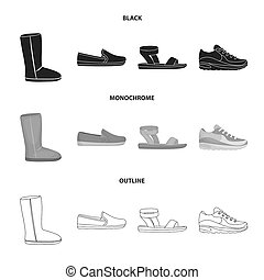 Beige ugg boots with fur, brown loafers with a white sole, sandals with a fastener, white and blue sneakers. Shoes set collection icons in black, monochrome, outline style bitmap symbol stock illustration web.