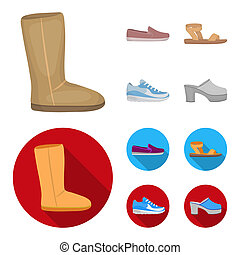 Beige ugg boots with fur, brown loafers with a white sole, sandals with a fastener, white and blue sneakers. Shoes set collection icons in cartoon, flat style bitmap symbol stock illustration web.