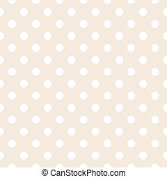 Beige vector background polka dots - White polka dots on...