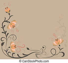 Beige vector background with floral corner ornament.