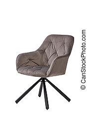 beige velvet armchair isolated on white background. modern beige lounge front view. soft comfortable upholstered chair. interrior furniture element.