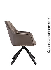 beige velvet armchair isolated on white background. modern beige lounge side view. soft comfortable upholstered chair. interrior furniture element.
