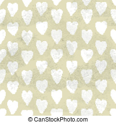 Beige vintage seamless pattern of hand drawn white hearts