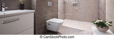 Beige washroom interior - Panoramic view of beige elegant ...