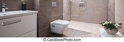 Beige washroom interior - Panoramic view of beige elegant...
