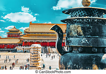 BEIGING, CHINA- MAY 18,  2015: Palaces, tourisr's , peoples ...