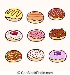 beignet, ensemble, dessin animé, dessin