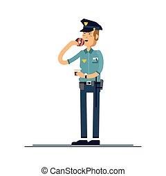 beignet, ensemble, sécurité, blanc, debout, isolé, public, officier, uniforme, vecteur, mâle, character., illustration, arrière-plan., caractères, manger, policier