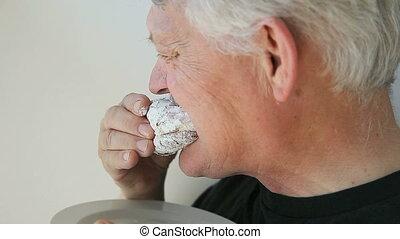 beignet, homme, gelée, mange