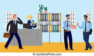 beignets, café, vecteur, officiers, illustration, station, police, coupure, manger