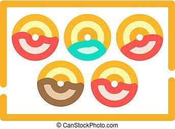 beignets, vecteur, couleur, illustration, icône, plaque