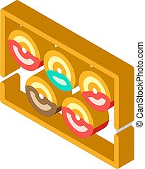 beignets, vecteur, illustration, icône, plaque, isométrique