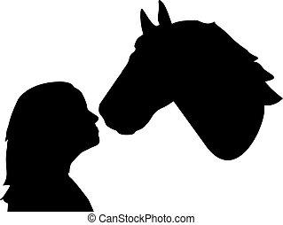 beijando, cavalo, meninas, nariz