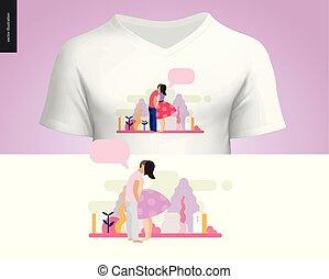 beijando, cena, composição, t-shirt, desenho