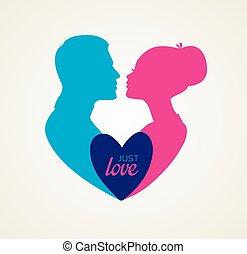 beijando, couple's, silueta, imagem