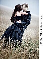 beijando, goth, ao ar livre, par, jovem