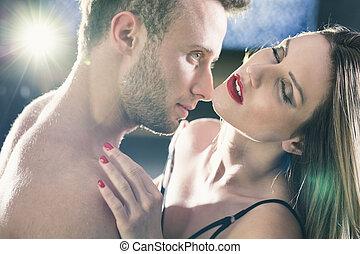 beijando, mulher, pescoço, homem