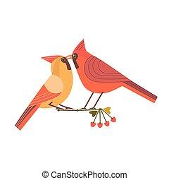 beijando, pássaros, ícone