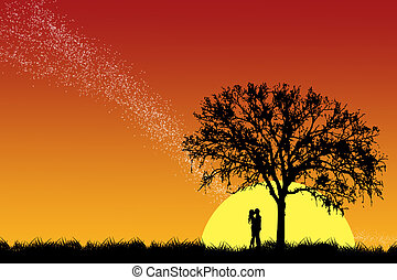 beijando, par, árvore, sob