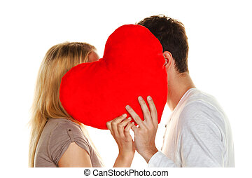 beijando, par, amando