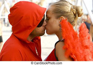 beijando, par, jovem