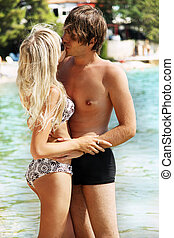 beijando, par, litoral, romanticos