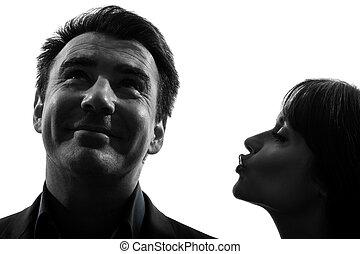 beijando, par, mulher, silueta, homem