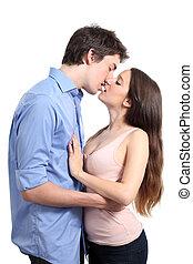 beijando, par, paixão