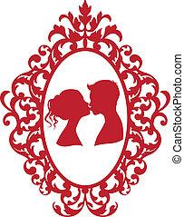 beijando, par, quadro