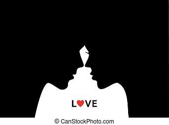 beijando, par, vetorial, amor
