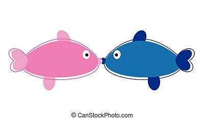 beijando, peixe
