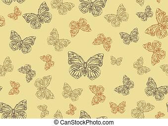 beijedt, hand-drawn, pillangók