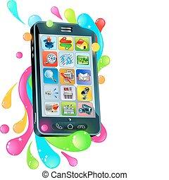 beijedt, mobile telefon, zselé, buborék, fogalom