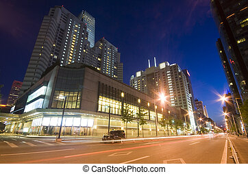 beijing, bâtiments, gratte-ciel, bureau, temps, -, en ville, nuit