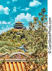 beijing., beihai, hermoso, parque, ciudad, prohibido
