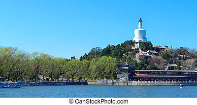 beijing, beihai, panorama, parque, arquitectura, histórico