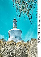 beijing., beihai, parque, ciudad, prohibido, pagoda, blanco
