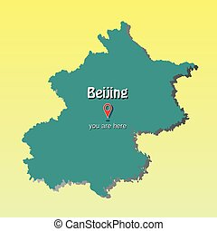Beijing - Capital of China - map illustration - you are here sign - Vector