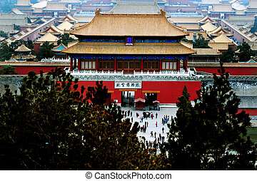 Beijing China - An aerial bird view of the Forbidden City.