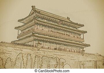Beijing, China at the Zhengyangmen Gatehouse in Tiananmen...