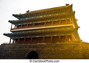 Beijing, China at the Zhengyangmen Gatehouse in Tiananmen Square