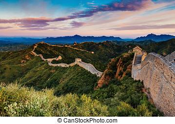 Beijing, China - AUG 12, 2014: Sunrise at Jinshanling Great...
